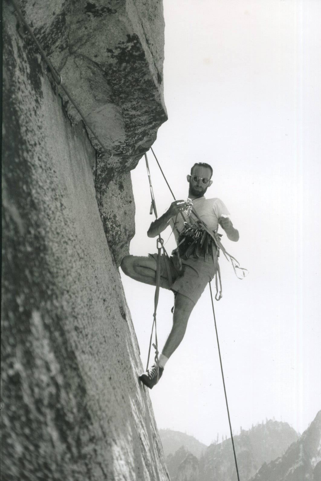 Royal Robbins leads the third pitch of the Salathé Wall during the first ascent in 1961.