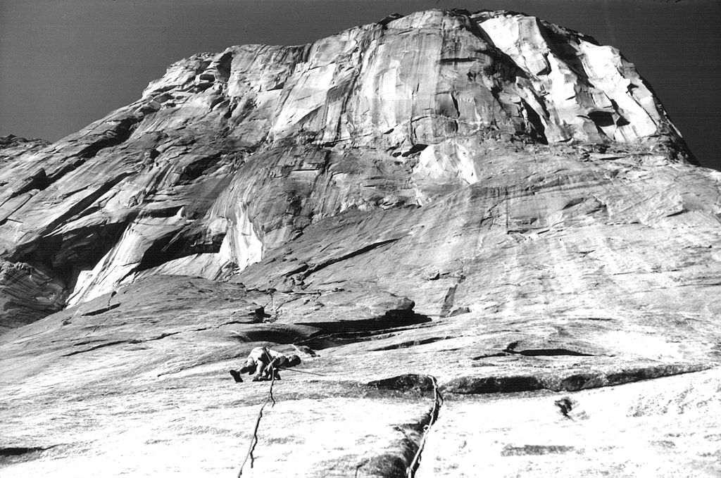 Royal Robbins leading a pitch low on the Salathé Wall.