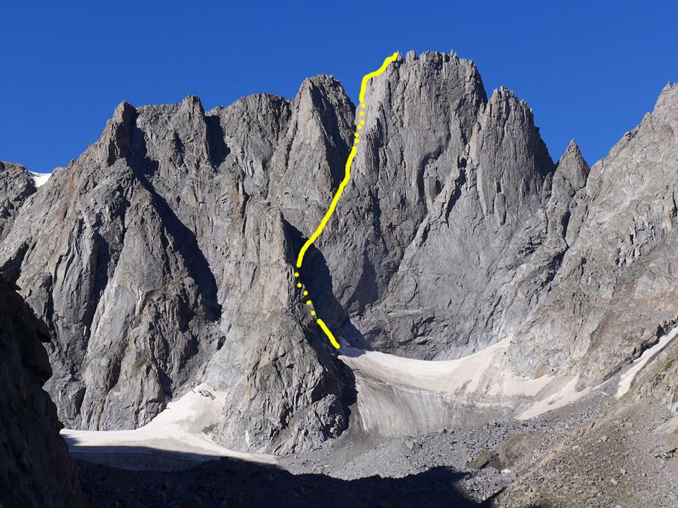 Line of the first ascent of the northweast face of Innominate.