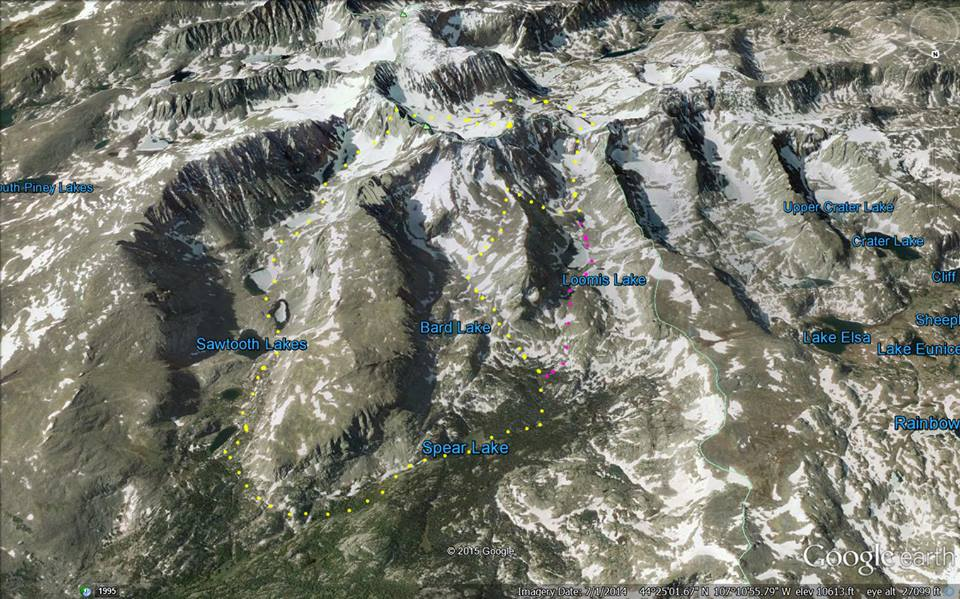 Google Earth rendition of the descent from Innominate, the peak in upper left. The three men traveled together as far as Loomis Lake, where Leen and Johnson tried to take a shortcut back to Sawtooth Lakes (yellow) and Beckey continued straight out the valley (purple). Eventually they all regrouped past Spear Lake.