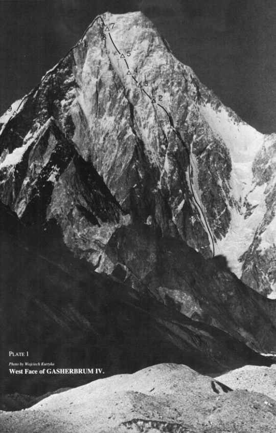 The route of the first ascent of Gasherbrum IV's west face, with camps marked.