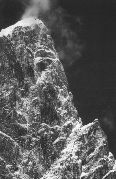 Tawoche's northwest buttress, showing A: the Fowler-Littlejohn route (Fowler-LIttlejohn, 1995), and B: the Lowe-Roskelley Route (Lowe-Roskelley, winter 1989).