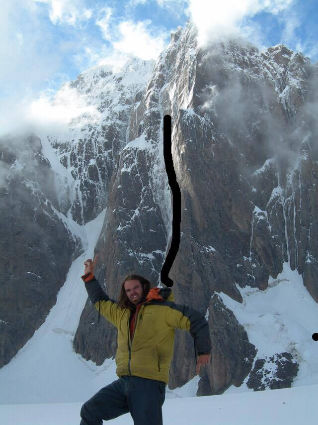 Scott Adamson in front of Kyzyl Asker, showing the approximate high point of the team's attempt.