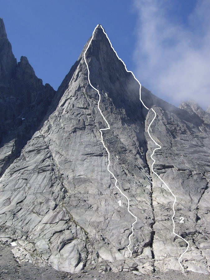 The east face of Tininnertuup III with (1) Nalunaq (Grmovsek-Grmovsek, 2008) and (2) Head in the Clouds/Anglo-Bavarian Direct (Gutzat-Stone-Vybiral/Gutzat-Vybiral, 2008). The original 1971 Irish ascent climbed behind the right skyline from the col between III and II.