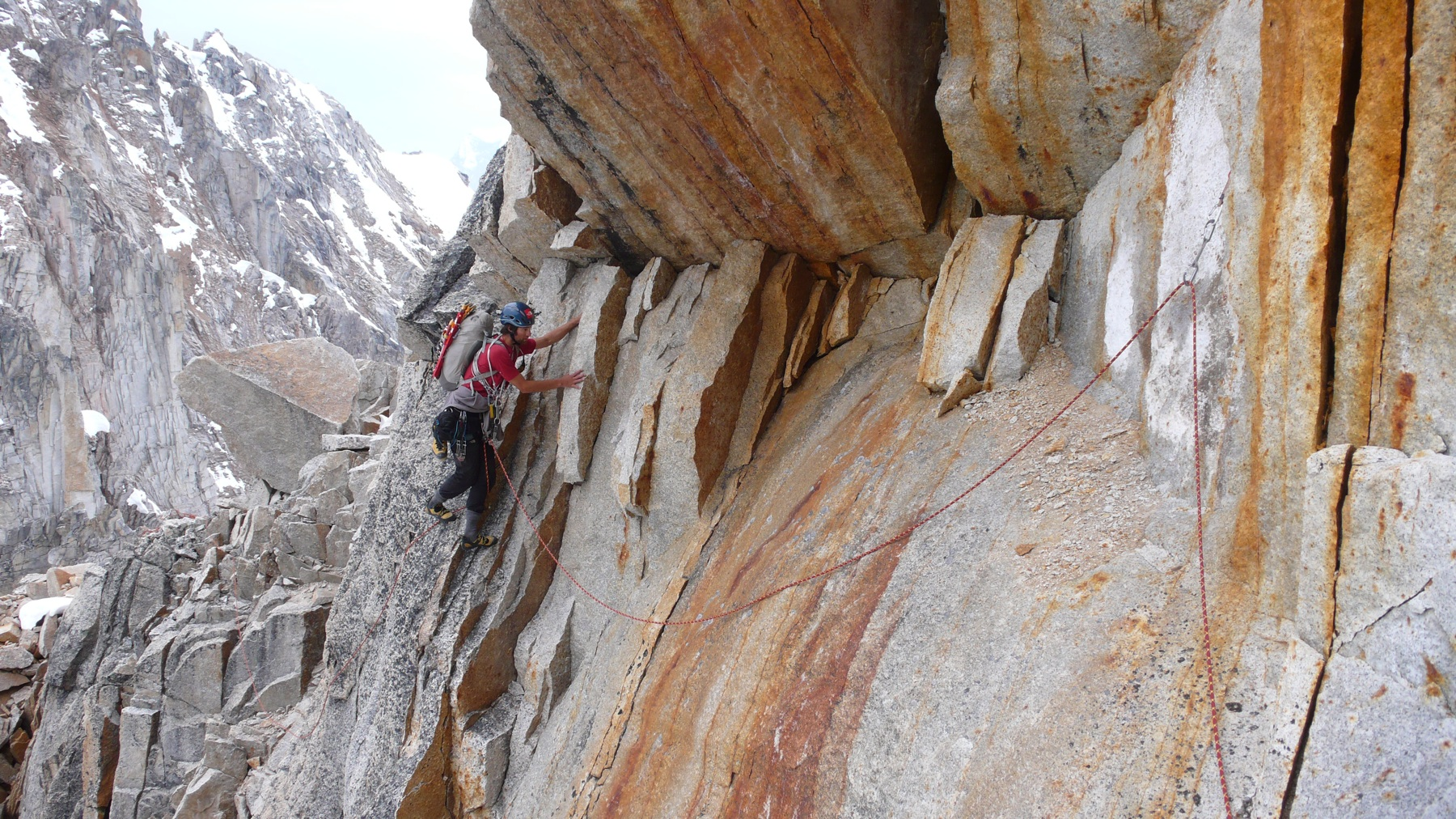 Renan Ozturk on the initial section of the new route on Sugar Tooth.