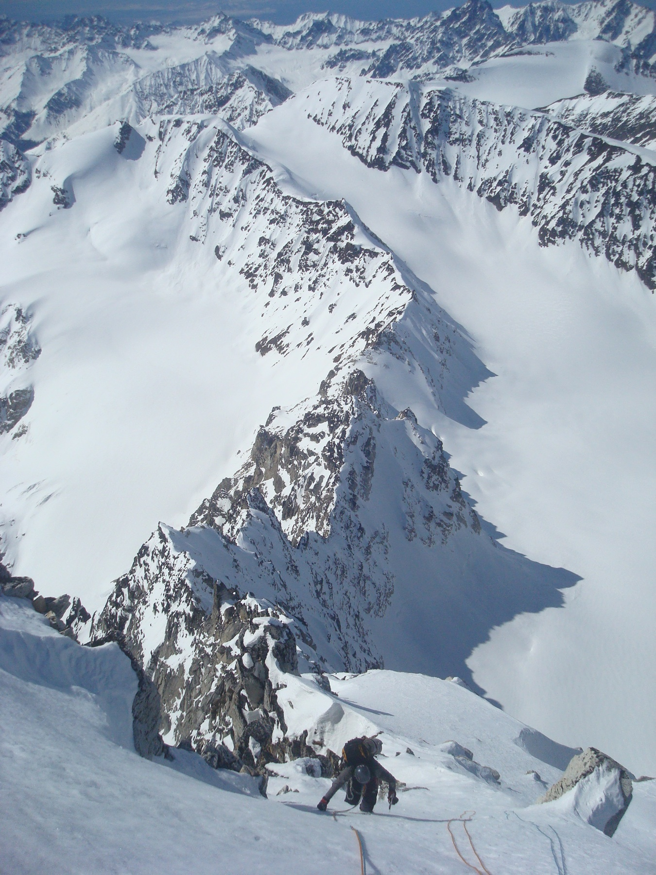 Seth Holden nearing the summit ridge on the first ascent of Ice Pyramid.