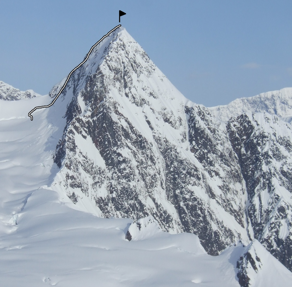"""The first ascent line on Peak 8,599' (""""Fifty Years of Alaskan Statehood"""")."""