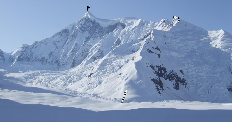 he Northwest Ridge of Mt. Bertha, from the Johns Hopkins glacier.