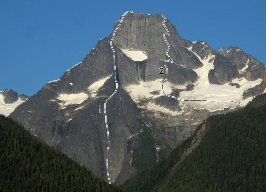 Mt. Bute, with (1) the 50-pitch School of Rock (Kay-Martinello-Sinnes, 2009), and (2) West Face (Foweraker-Serl, 1986). The Northwest Buttress (Down-Fletcher, 1991) roughly takes the left skyline. Soon after the Foweraker-Serl ascent, starting just left and joining it at the first big ledge (where (2) traverses right), is the Beckey-Lewis-Nelson 1986 variation.