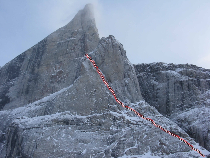 The unclimbed north face of Beluga Spire, with Turner's attempt.