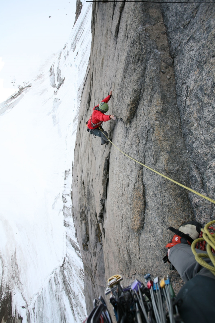 Chris Brazeau on a repeat of Stories in Stone, Mt. Walle, Baffin Island.