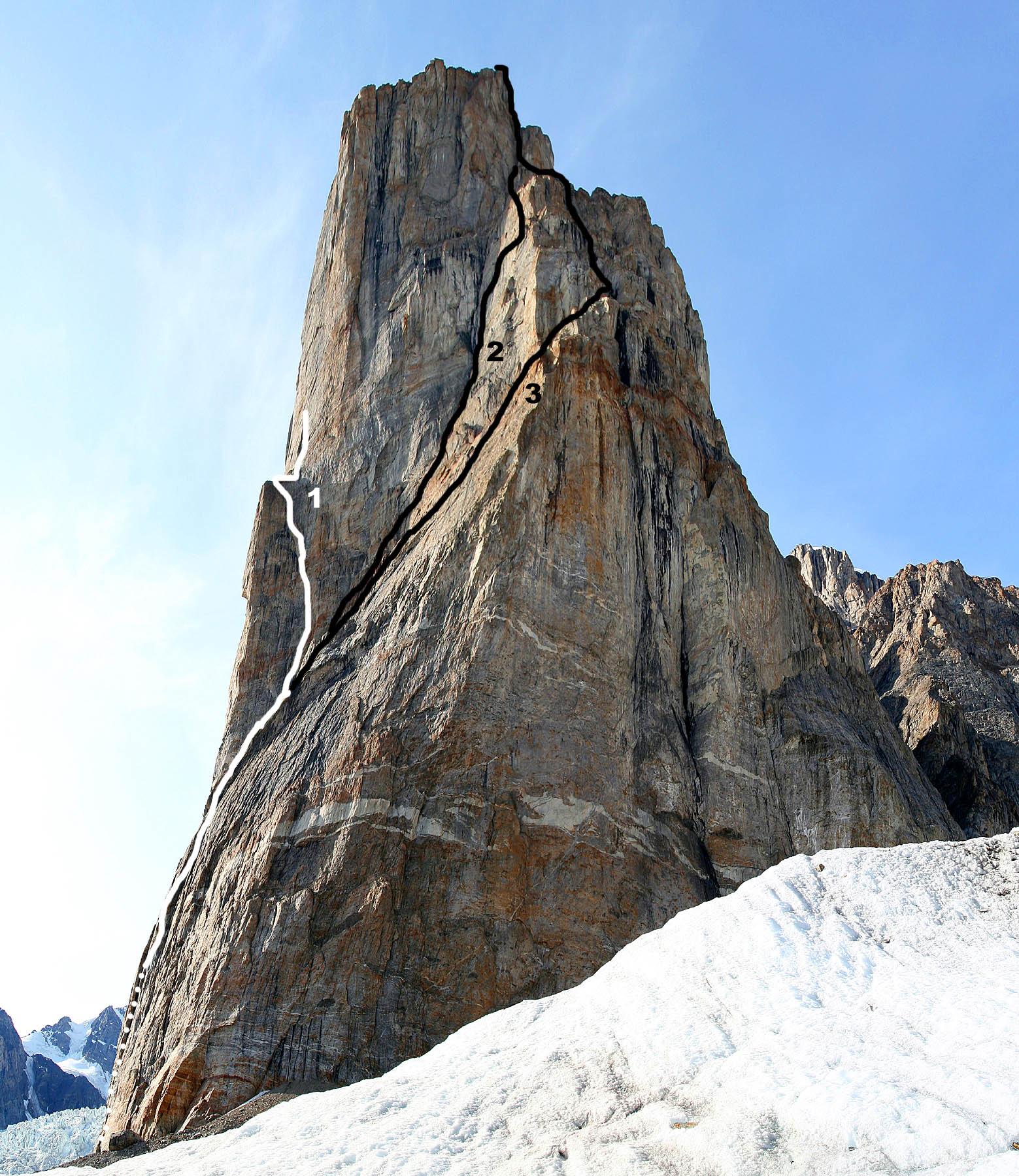 The Cenotaph from the east showing (1) de Jonge-Staleman attempt (UIAA VII, 600m), (2) Controversy (UIAA VII, 900m), and (3) First Ascent Route (UIAA VII, 900m).