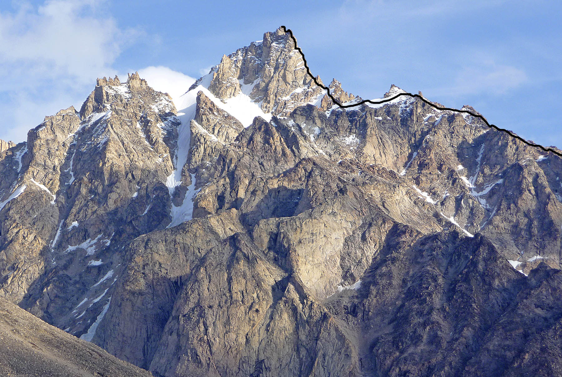 McDonnell Peak, showing the line of the first ascent. The final pitch was the crux.