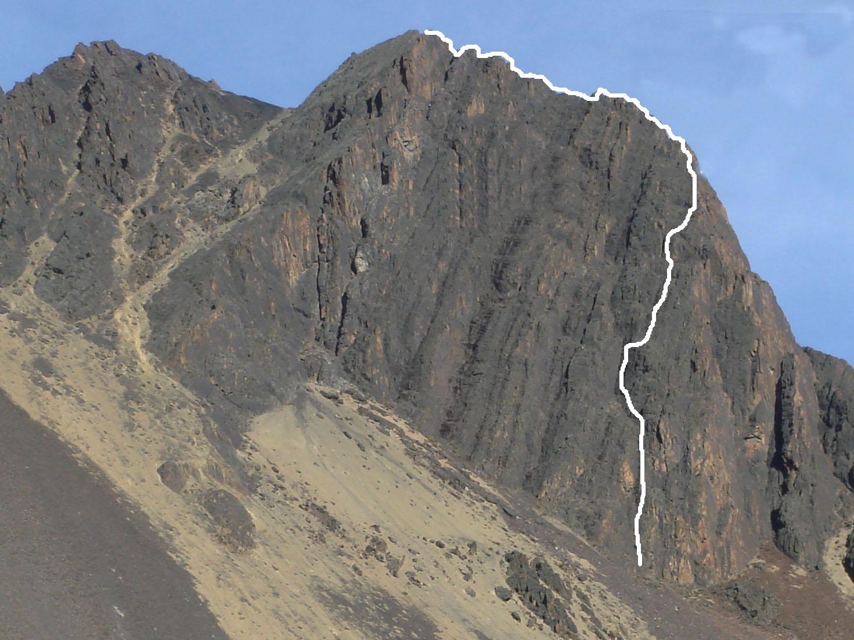 Caporales Celtica, on the eastern arête of La Fortaleza Buttress, Peak Austria.