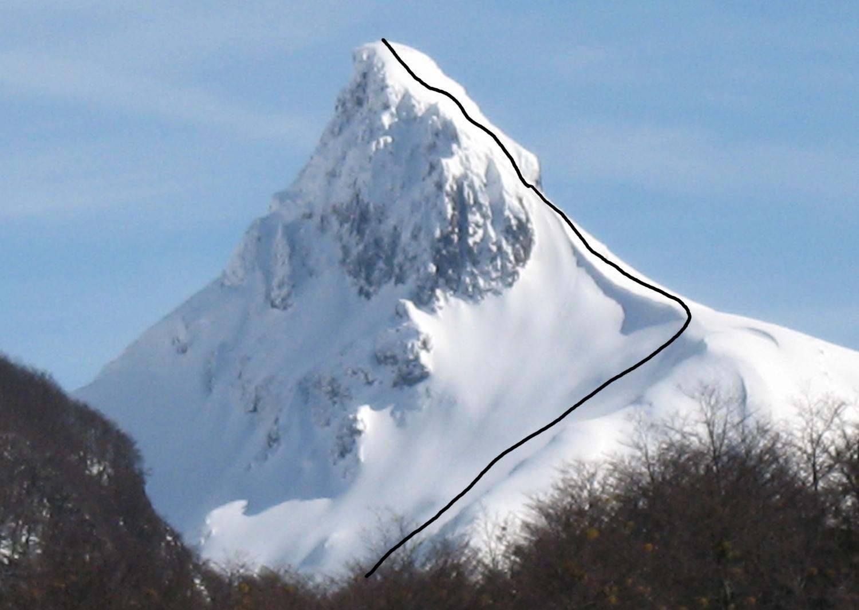 The route of first ascent on Cerro Condor (Peak 1,753).