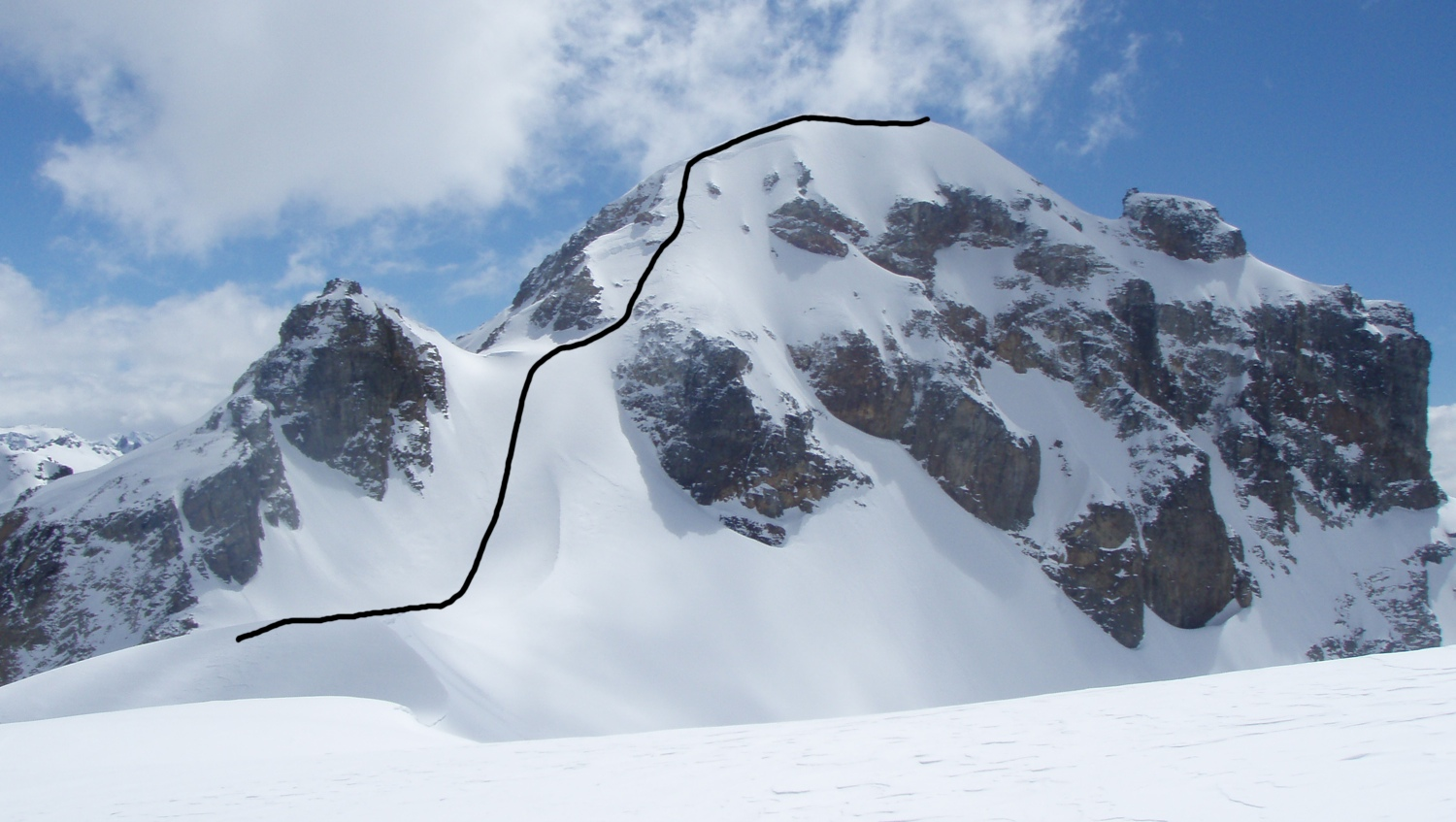 The new route on Peak 2,143m.
