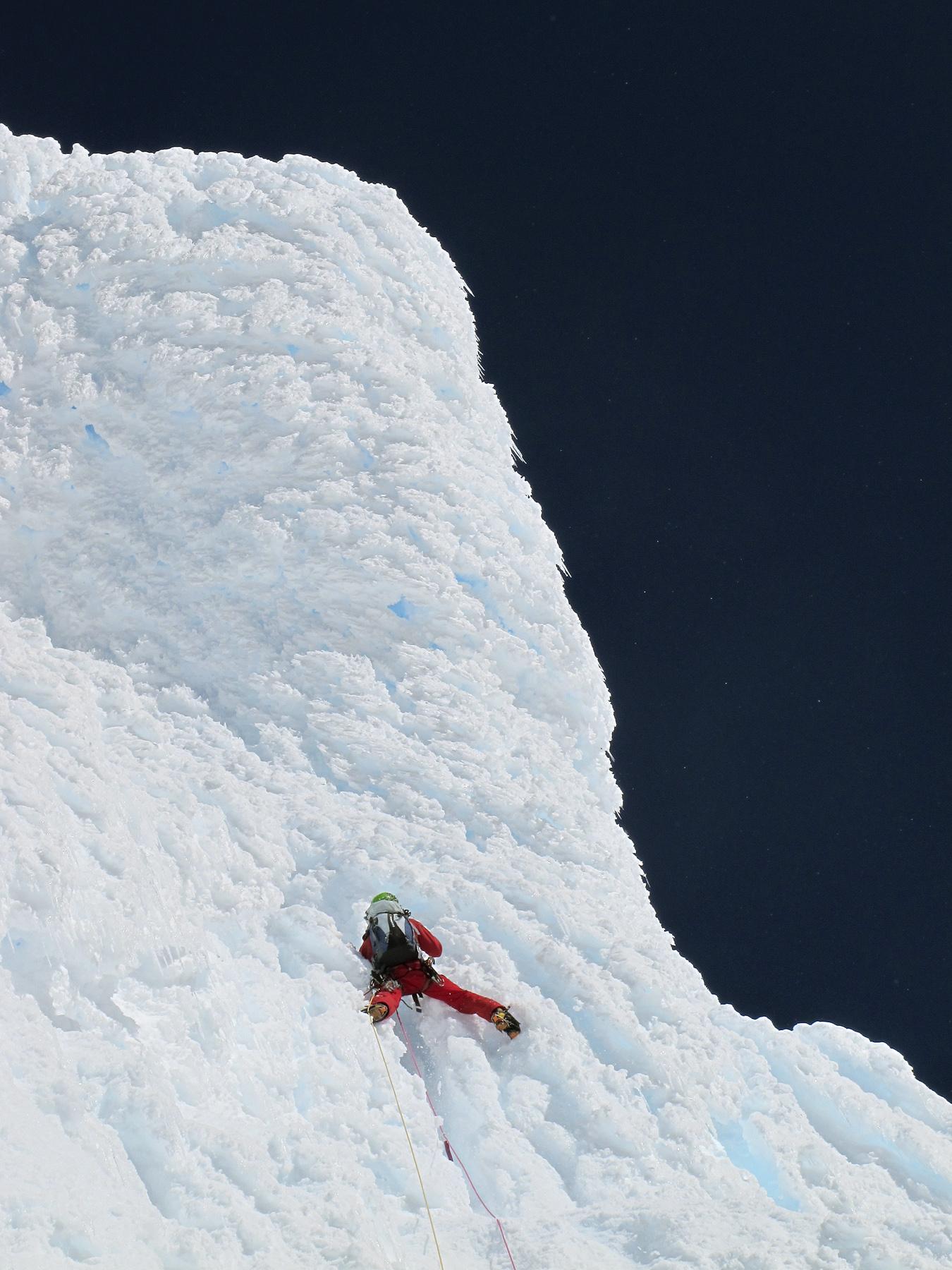 Lionel Daudat on difficult, precarious rime, Le Vol du Sérac, Mt. Foster.