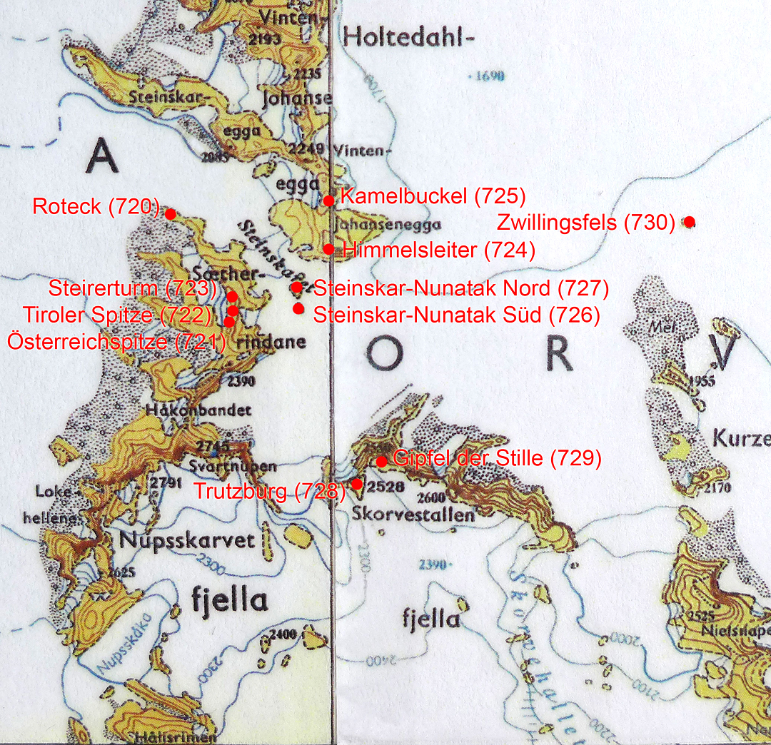 Map of the peaks climbed by the Austrian expedition.