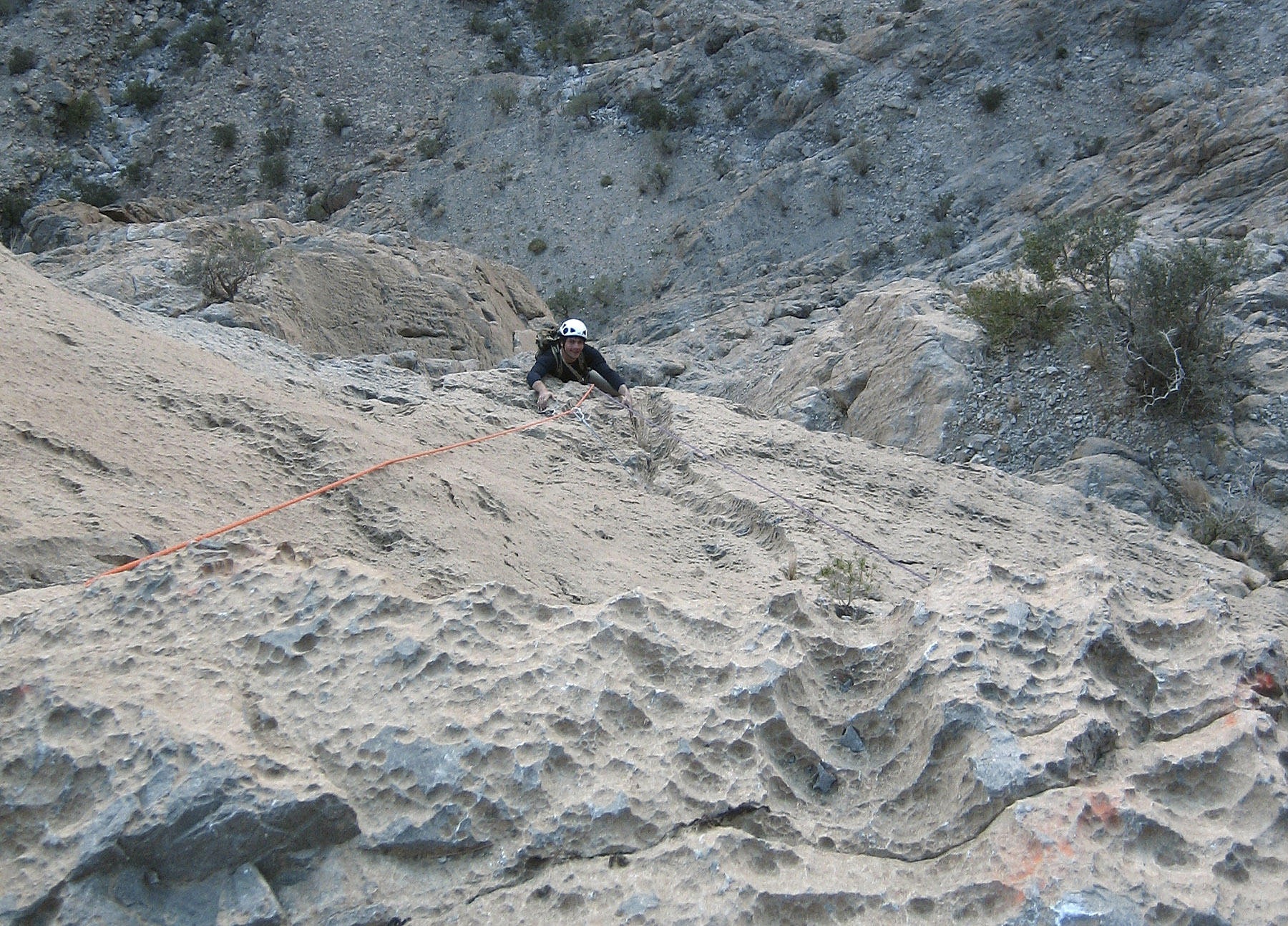 Marc Kuhn climbing excellent rough limestone on fifth pitch of Lulu.