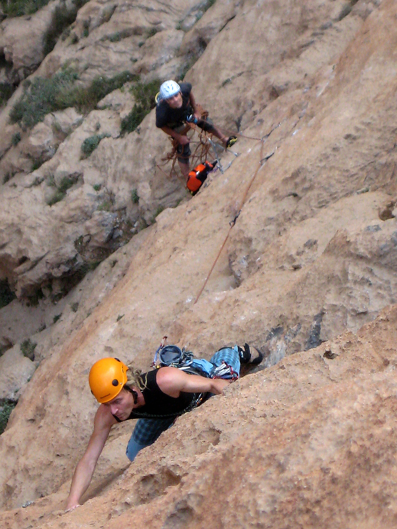 Francesco Fazzi, belayed by Silvano Gosso, on pitch four (7a+) of Capitan Tajin, after it had been cleaned.