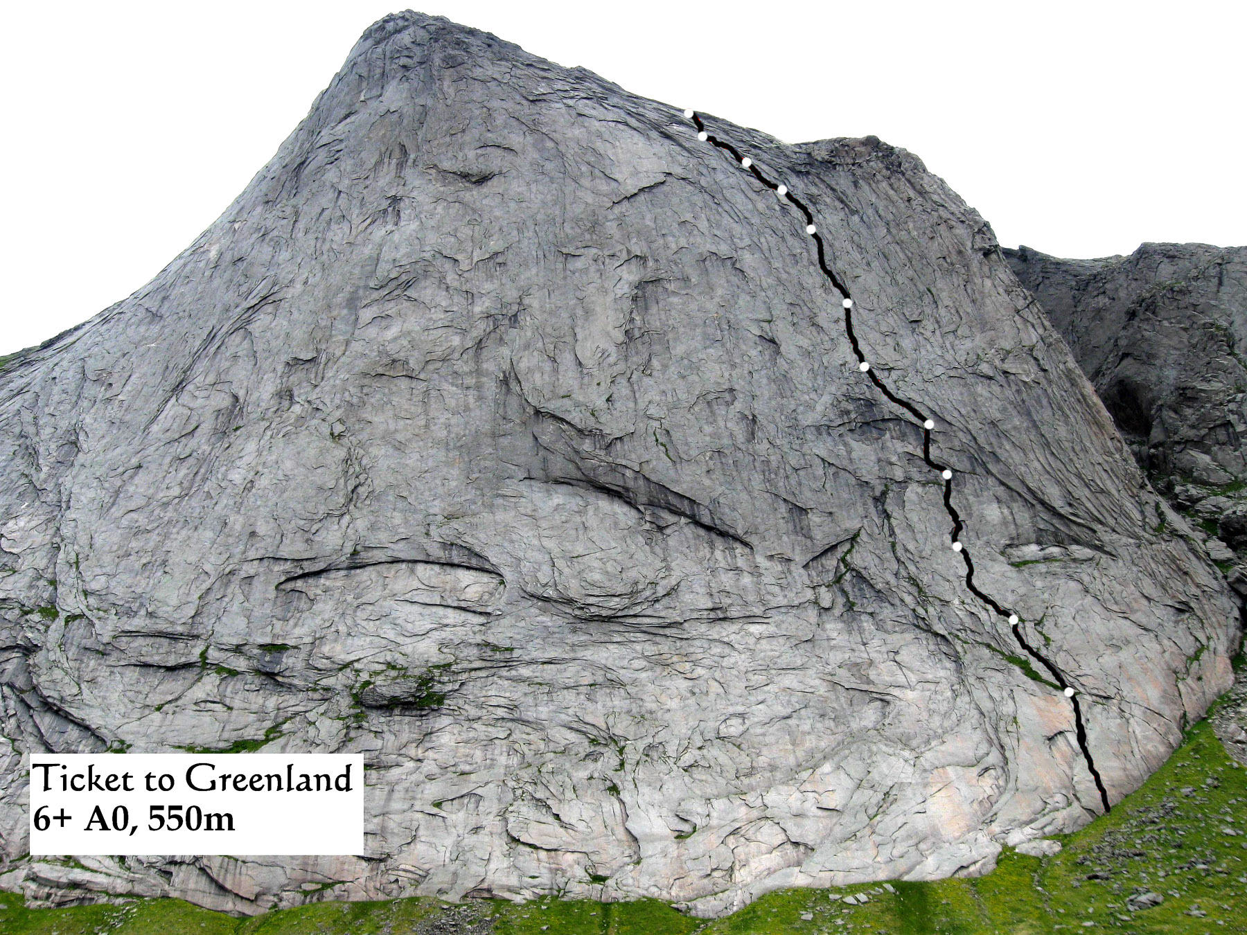 Ticket to Greenland on west face of Helvetestind (Hell's Wall). In 2009 Russian team also added a big wall route at F6a and A2+/A3 directly beneath the highest point in this photo.