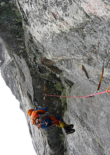 Crossing overhang on Russian winter route.