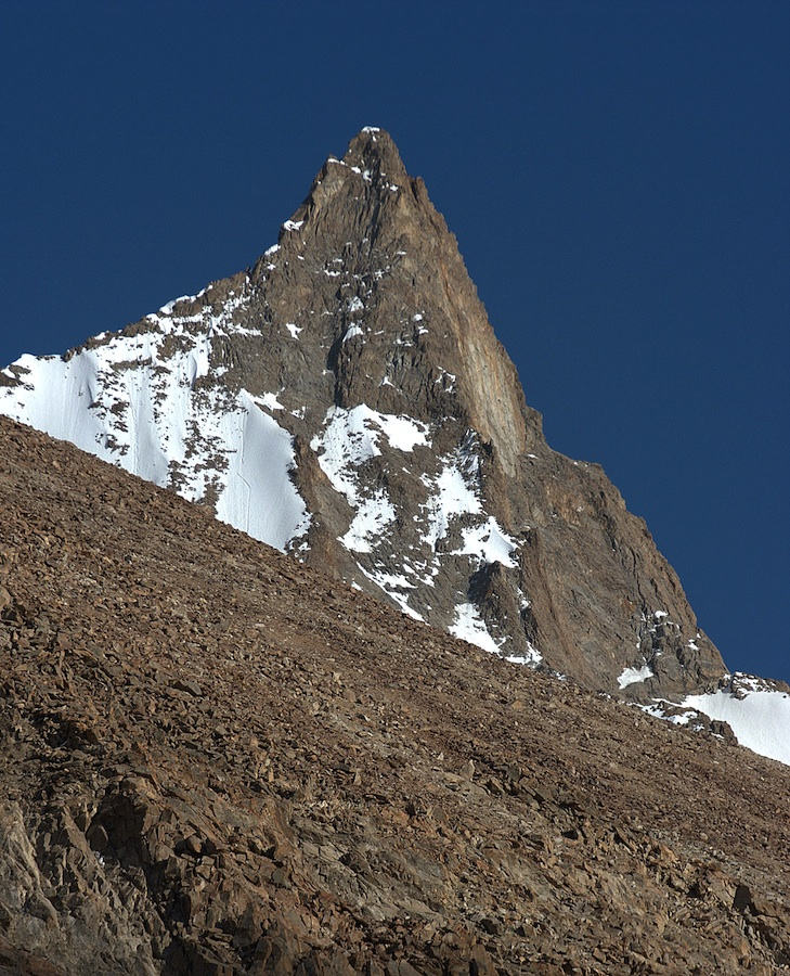 Looking approximately south to Peak 5,454m at the western end of Kohe Aq Su.