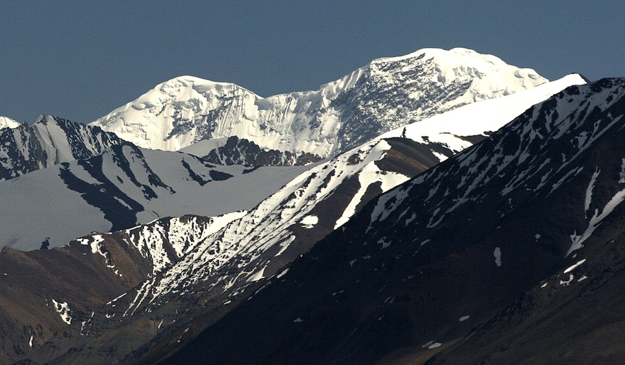 Looking southeast at the border peak of Sakar Sar (6,272m). The main peak on the left has been climbed twice from the far side—the southeast flank, from Pakistan—by Japanese in 1999 and 2004.