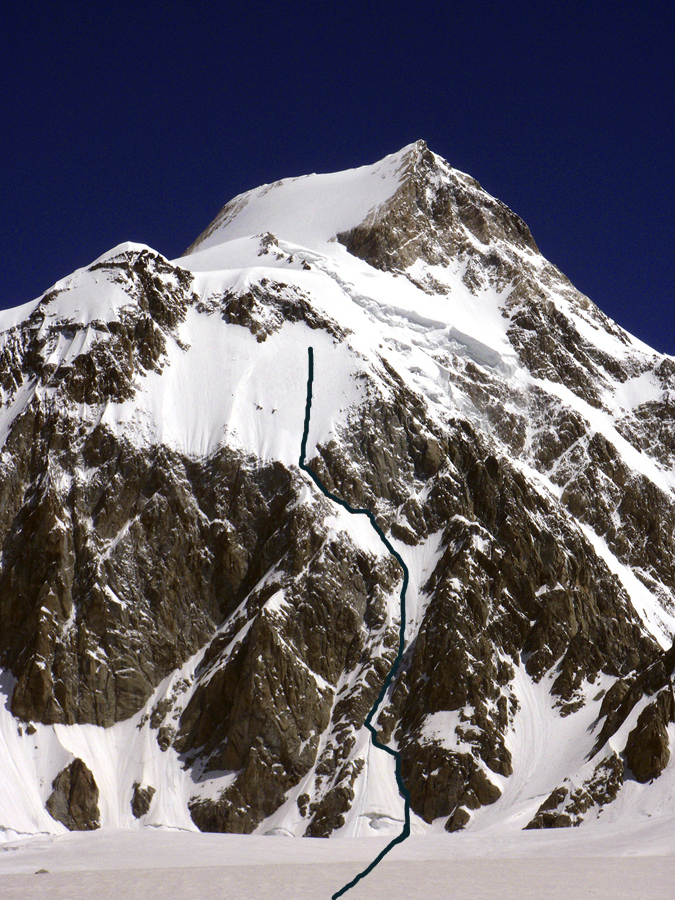 The line attempted by the Indo-American team on the far right side of the south face of Plateau Peak. The team almost reached the junction with the east ridge, which continues left off picture. The summit behind is Saser Kangri III (7,495m), first climbed in 1986 by the Indo-Tibet Border Police.