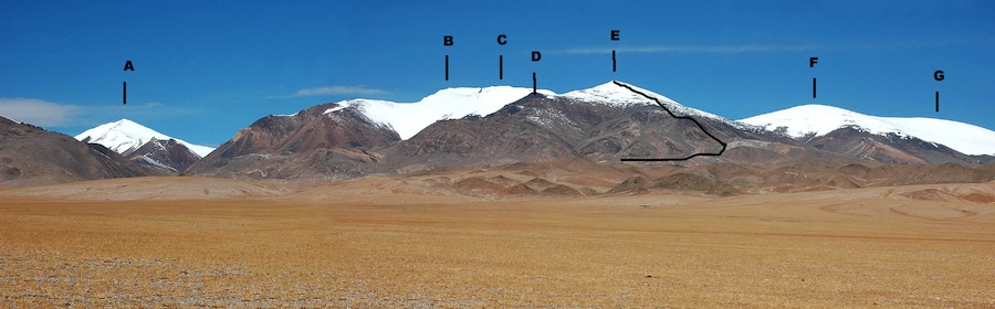 Highest peaks of Mayer Kangri Massif from the east. (A) Mayer Kangri IV (6,120m). (B) Mayer Kangri I (6,286m). (C) Peak 6,200m. (D) Peak ca 5,900m. (E) Mayer Kangri I East (6,065m). First ascent route marked. (F) Mayer Kangri II South (6,165m). (G) Mayer Kangri II North (6,120m).