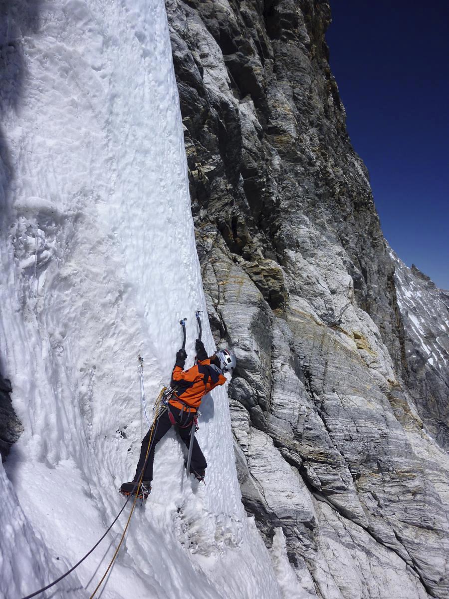 Kazuya Hiraide tackles steep ice high on northeast face of Gaurishankar South.