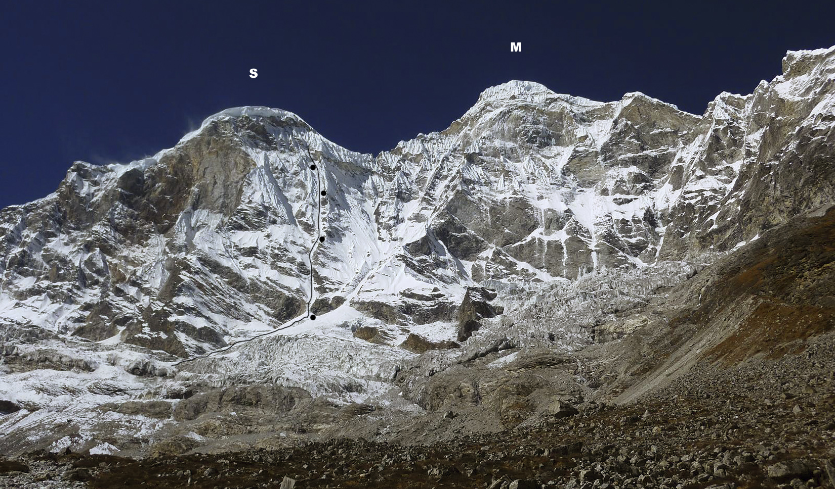 Gaurishankar from east. (S) South summit. (M) Main summit. Attempted route and bivouac sites marked. Ascents of south summit have finished up left skyline. Northeast rib leading to northeast ridge forms right skyline. Japanese planned to attempt east face to left of rib/ridge, directly below main summit.