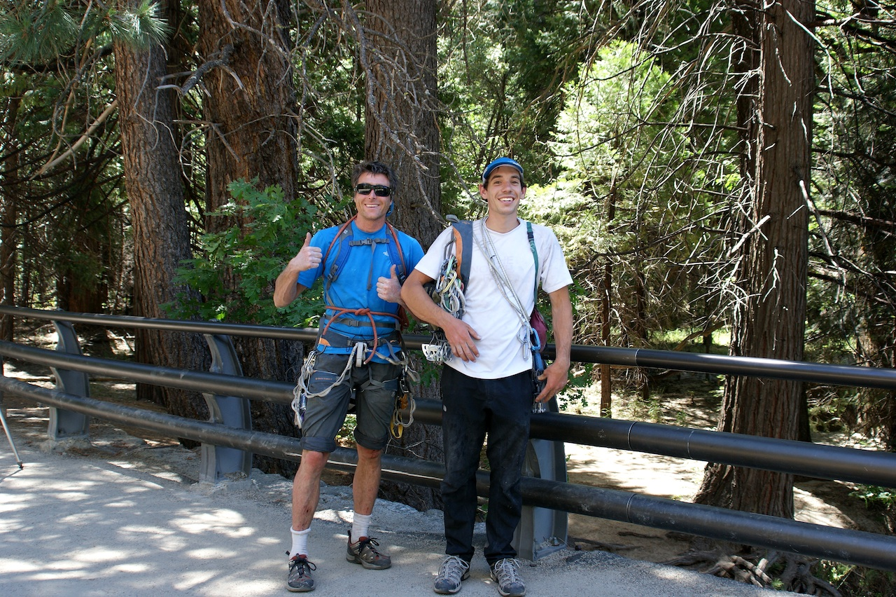 Sean and Alex stopping on the El Cap Bridge as they head toward Lurking Fear.