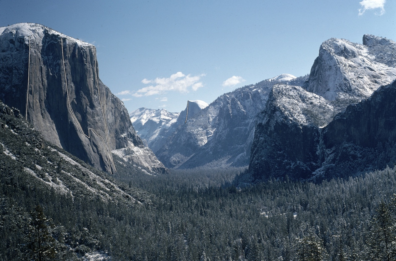 Yosemite Valley showing El Capitan and Half Dome. El Cap's routes, left to right, are Lurking Fear, Salathe Wall, and the Nose; in the distance is the Regular Route on Half Dome. Alex Honnold's half-day of solo climbing began with the Regular Route and finished with the Nose. His full day with Sean Leary climbed the Nose, Salathe Wall, and Lurking Fear.