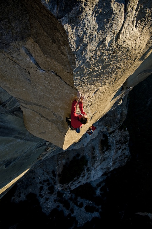 Leo Houlding near the top of the crux A1 Beauty pitch on The Prophet, El Capitan. Alastair Lee
