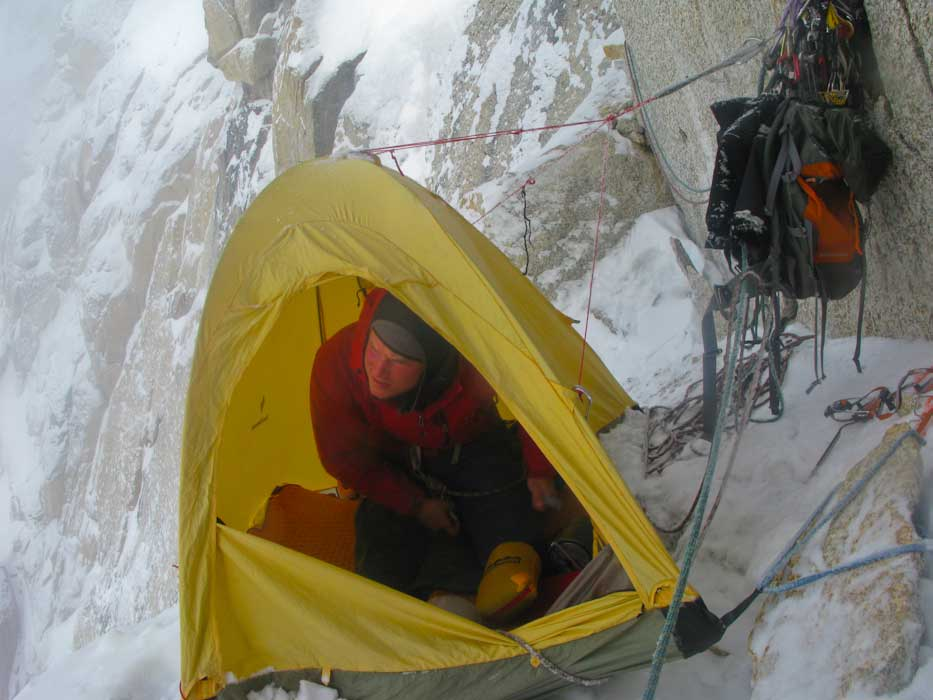 Graham Zimmerman at the Tower Bivy, morning of the summit day.