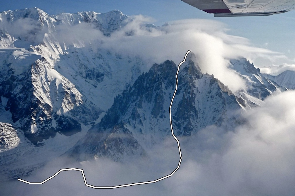 An aerial view of Snider Peak, with the route Dicktation.