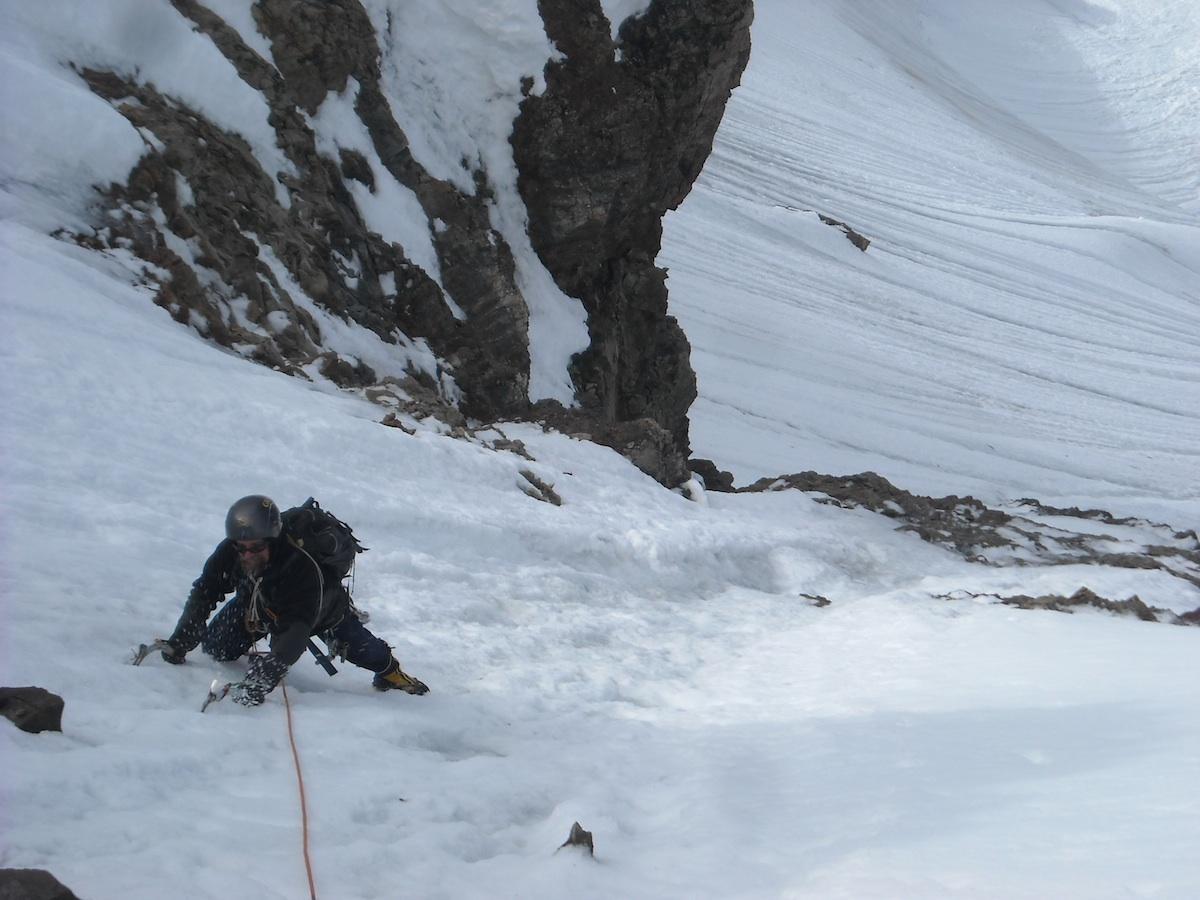 Jim Beyer cruising easy terrain low on Peak 10,510'.