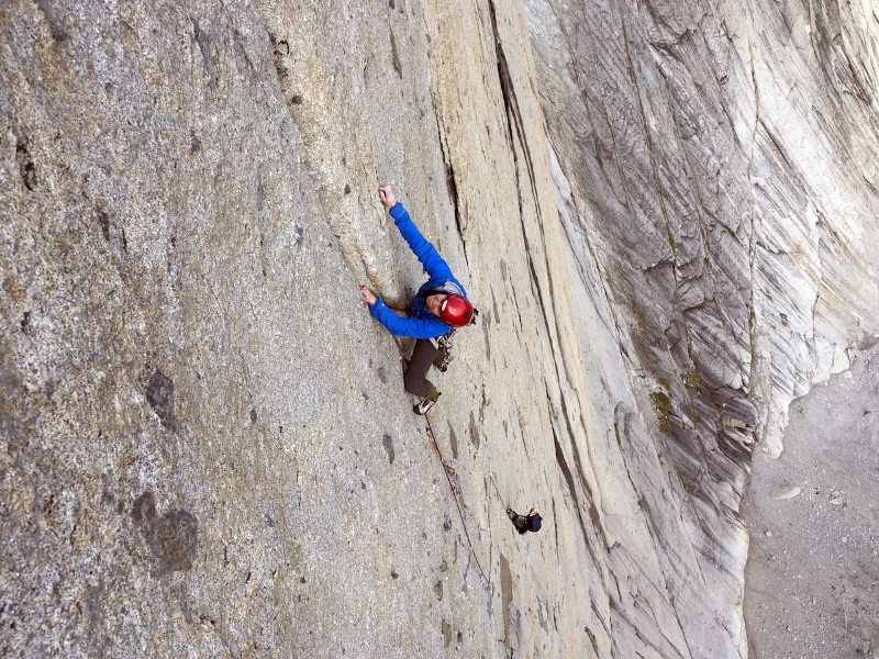 Madaleine Sorkin freeing the crux eighth pitch of the original Southeast Face route on Mt. Proboscis.
