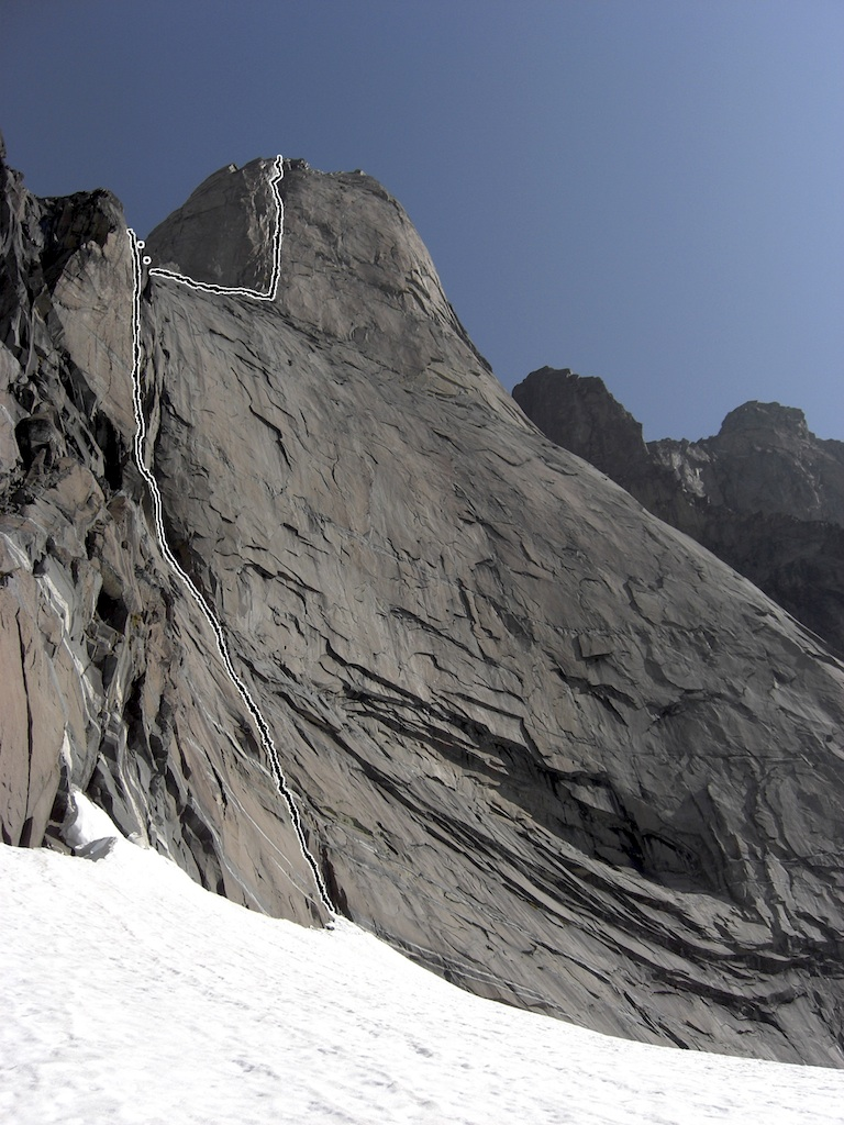 Turret's Syndrome, on the south face of the Turret. Other routes are thought to exist on the face.