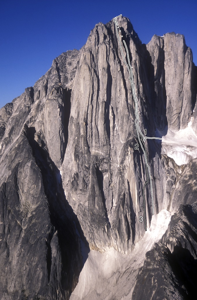 The west face of North Howser Tower, showing: (1) Southwest Face (Jones-Simpson-Woodcock, 1970). (2) Hey Kool-Aid! (Miller-Weidner, 2005). (3) The Simulator (Johnson-Kellogg, 2010). The face has many other routes to the left.