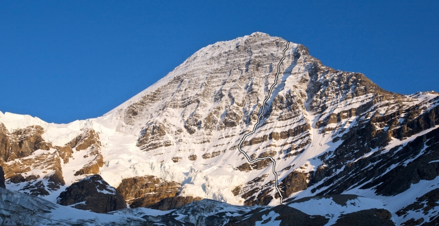 The new Kruk-Walsh line on Mt. Robson's Emperor Face, to the junction with the Emperor Ridge. See AAJ 2008, p. 184, for other routes on the face.