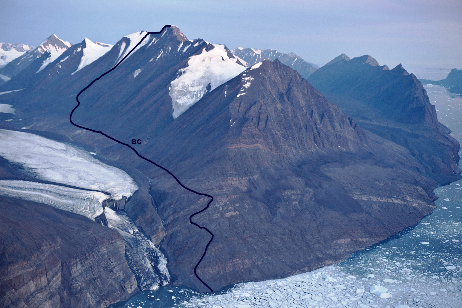 Aerial view of Pt 2.280m, showing the route of first ascent up the east flank.