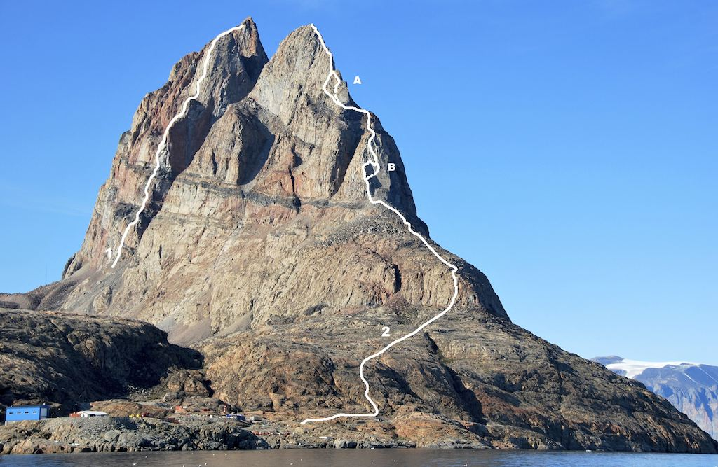 Ummannaq Mountain from the southwest. (1) Black Velvet Band to central (highest) summit. (2) Solid line shows the Chauché-Mackay Route; dashed line, where it differs at points (A) and (B), the Doyle-Leinss Route. Both end on the south summit.