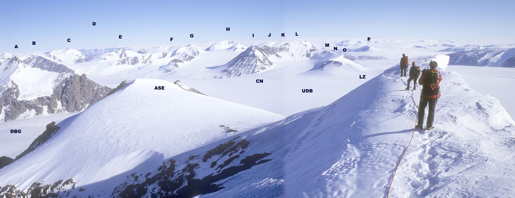 Central peaks of Paul Stern Land seen during the traverse of Ararat. (A) Arken. (B) Pk. 2,260m. (C) Pk. 2,320m. (D) Distant mountains of Gaaseland. (E) Pk. 2,324m. (F) Pk. 2,240m. (G) Sfinks. (H) Snehorn (2,240m). (I) Baendalbjerg with Cloudspotter's Ridge falling toward (CN), Camp Noah. (J) Pk. 2,370m. (K) Pk. 2,377m. (L) Pk. ca 2,350m. (M) Pk. Bruno. (N) Copper Knob. (O) Weisskopf. (P) Vindbjorne (1,830m). (DBG) North branch of Doede Brae Glacier. (ASE) Southeast ridge of Ararat, descended during traverse. (UDB) Upper Doede Brae. (LZ) Landing Zone at 1,540m. Following a straight line in front of the climbers it is ca 150km to the Watkins Mountains and Gunnbjornsfjeld.