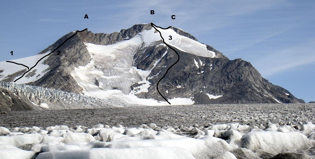 Qaqqardivaq Emanuela from northwest. (A) Emanuelala Neqqisaad. (B) Kijammud Qaarpijaa. (C) Pingaarnerdud Qaarpijaa. (1) Route toward Lappe Innardaa. (2) North face (Henszelewski-Köhler-Lappe-Lehmann-Maluck, 2010). (3) Northwest face (Cotichelli-Ripi, 1979).