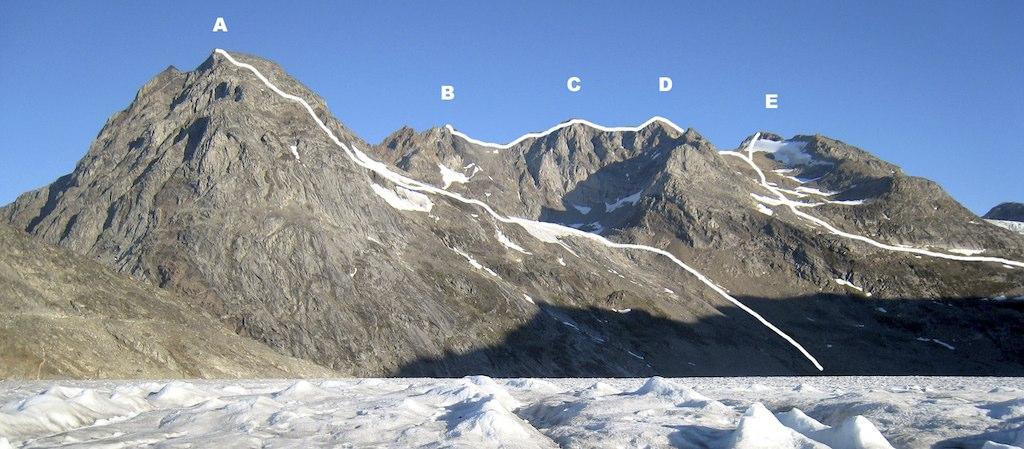 Looking northwest at (A) Qaqqardivaq Kohler. (B) Qaqqardivaq Thorsten. (C) Inuuitseerdumud Dunitsud. (D) Qaqqardivaq Maluck. (E) Kunuup Dereqqua. Routes climbed by the 2010 expedition are marked.