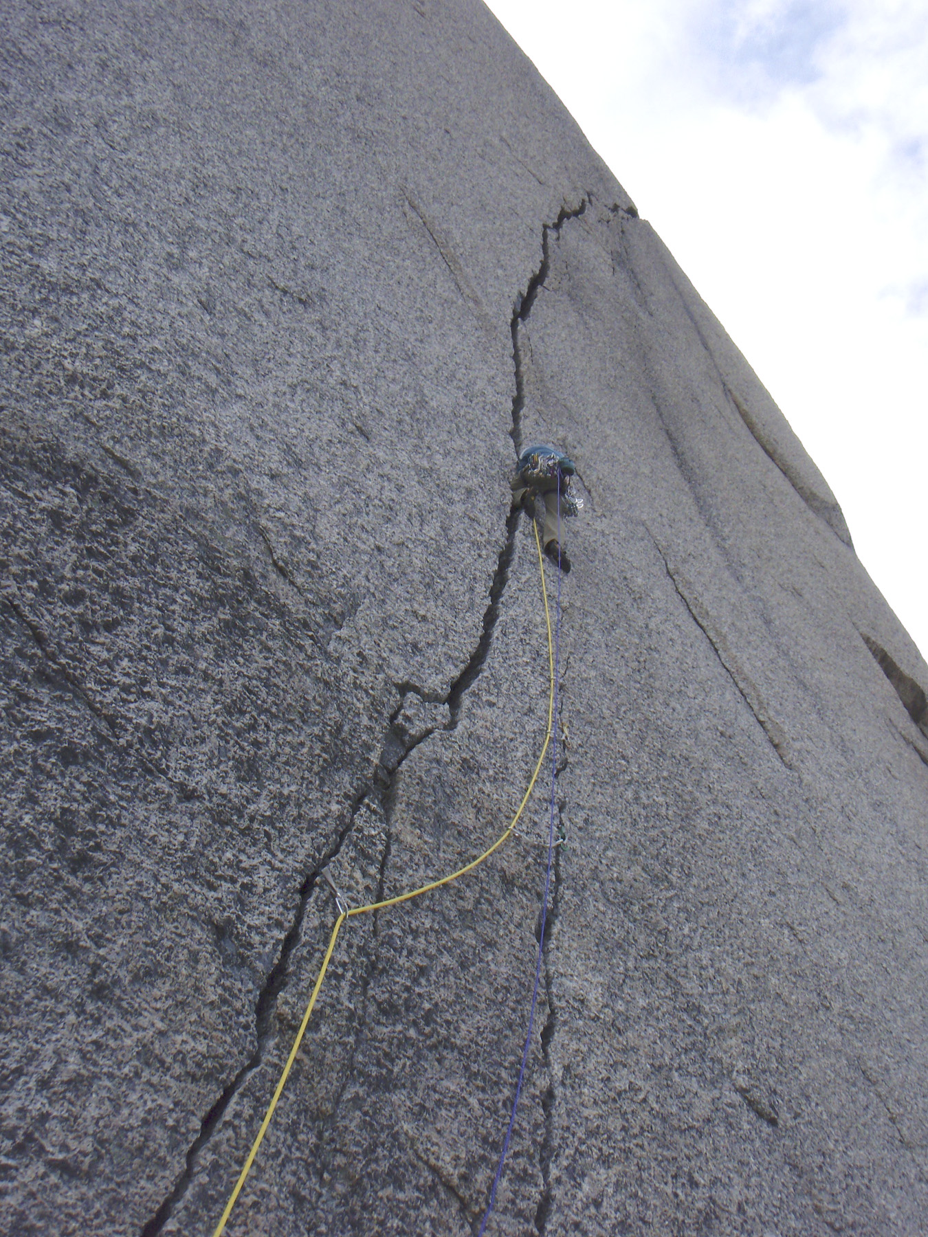 No problem with route finding on this pitch. Mattias Sellden making an unsuccessful attempt on a new route up the north face of Hermelnbjerg.