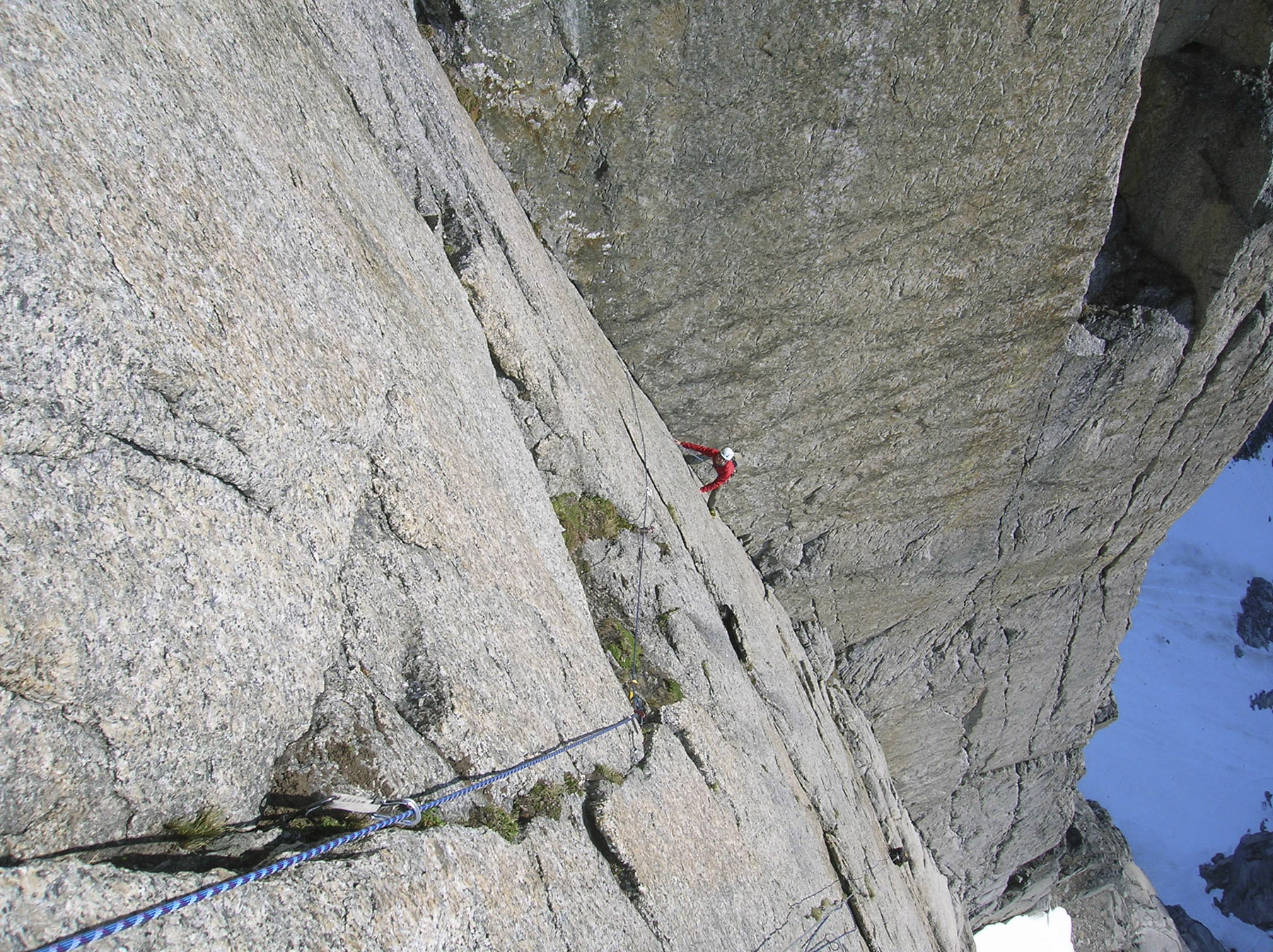 Mattias Sellden in the big diedre on the west face of Hermelnbjerg south summit.