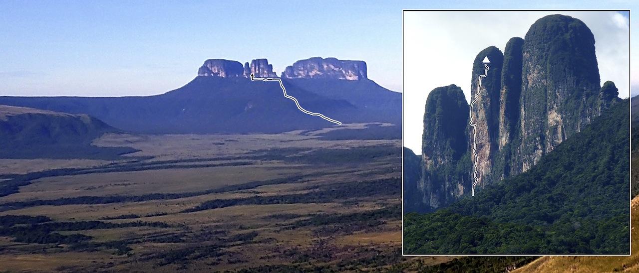 El Camino del Danto, the first route on Adankasima Tepui, rising from the Valle del Tirica.